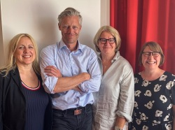 The executive board of ABF Norden. From the left: Tove Johansen of AOF Norway, John Meinert Jacobsen of AOF Denmark, Monica Widman Lundmark of ABF Sweden and Katri Söder on behalf of TSL Finland.